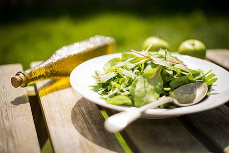 vegetable leaf on plate beside spoon