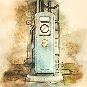 view of vintage Shell fuel dispenser painting