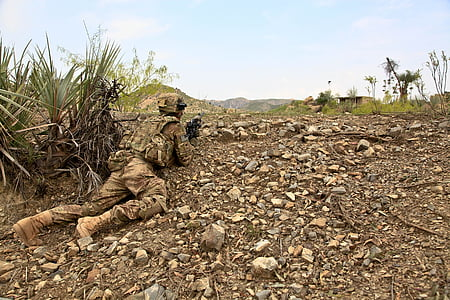 soldier wearing brown camouflage uniform crawling near plant holding rifle