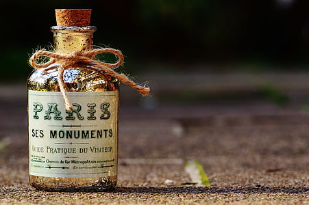 Paris Ses Monuments text printed glass bottle with cork stopper