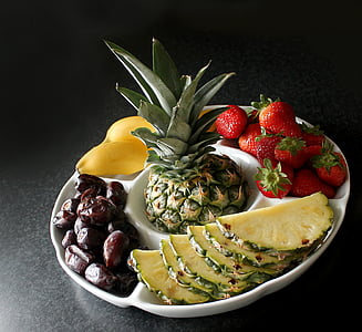 white 5-division tray with fruits