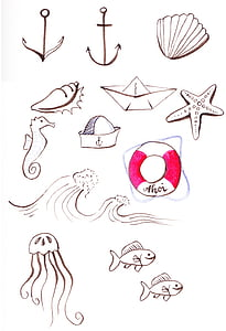 fish, anchor, seahorse and shell illustrations