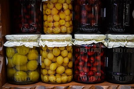 variety of pickle jars