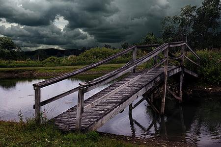 gray wooden bridge under gray clouds during daytime