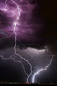 purple clouds and lightning digital wallpaper
