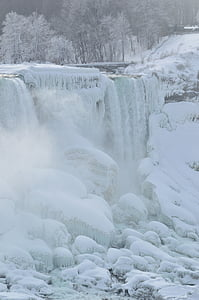frozen waterfalls during daytime