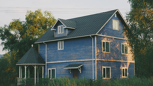 blue 3-storey house