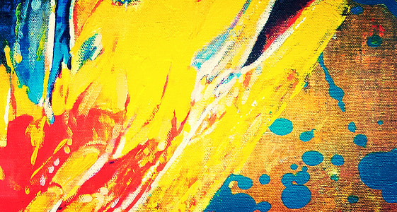 yellow and multicolored abstract painting