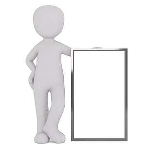 person illustration holding rectangular gray frame