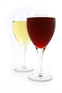 two filled clear wineglasses