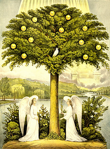 two angels under green tree with white dove painting