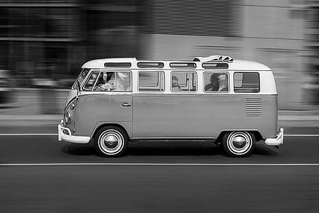 gray scale photo of Volkswagen Kombi