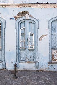 blue wooden closed door