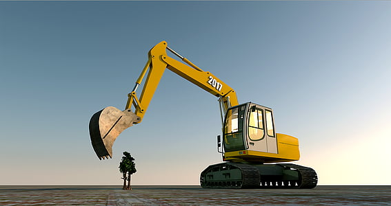 yellow and black excavator during daytime