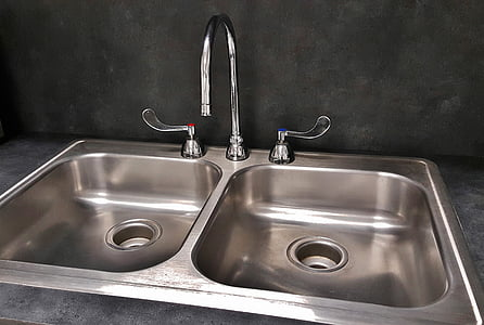 gray stainless steel twin sink with faucet