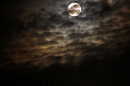 black clouds under the moon