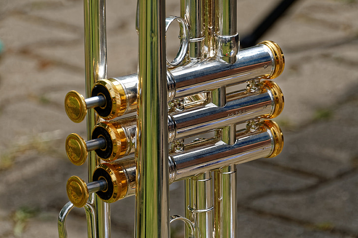Royalty-Free photo: Silver and gold trumpet knob | PickPik