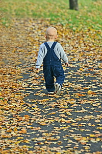 toddler walking on dried leaves covered road