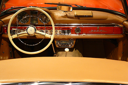 red and white convertible car interior