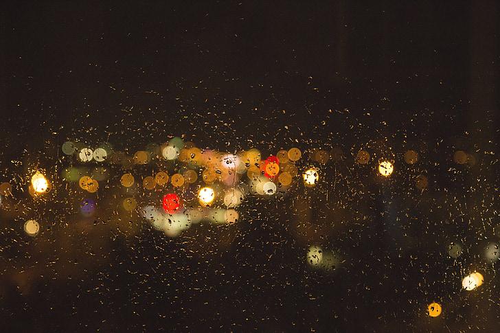 rain, window, blur, night, lights, wet