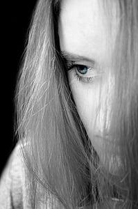 woman greyscale photography