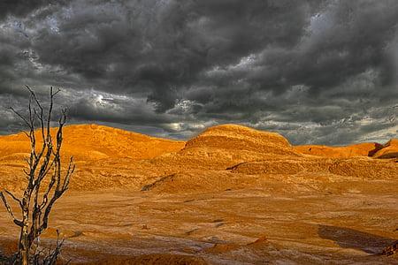 panoramic photography of desert above dark clouds