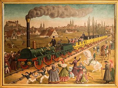 painting of train and people with beige wooden frame