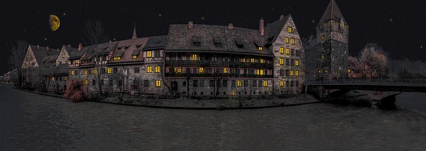 brown mansion during night