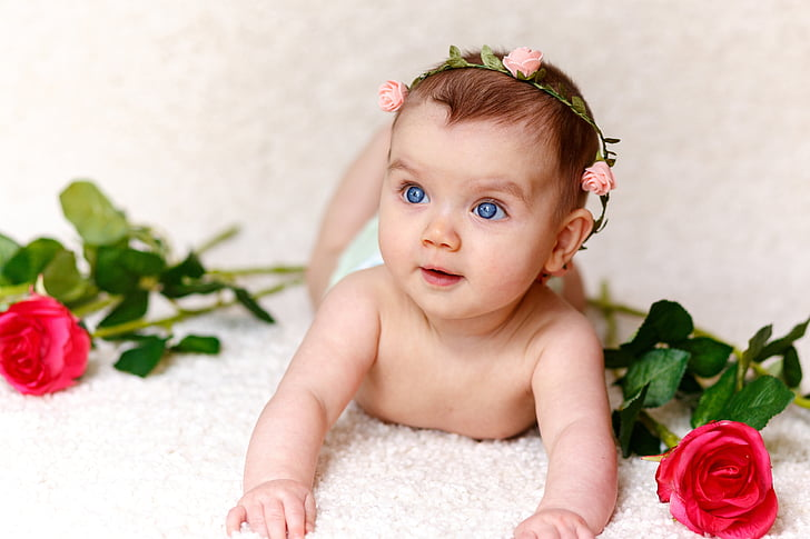 girl, baby, roses, hairband, cute, child