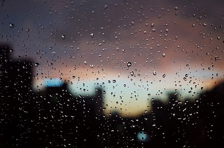 raindrops, sunset, window, depression, out the window, red