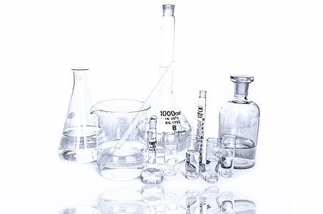 laboratory beakers in white background