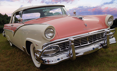 white and pink Chevy Bel Air