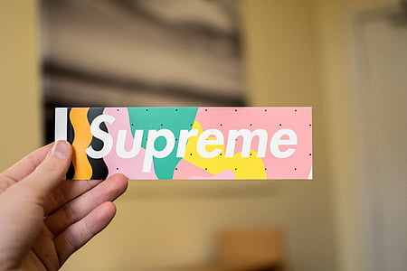 person holding multicolored Supreme sticker