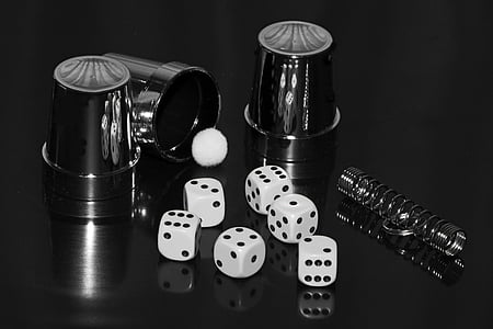 six white-and-black dice cube toys