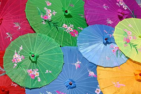 assorted-color paper umbrella