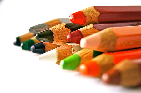 coloring pencils in white background