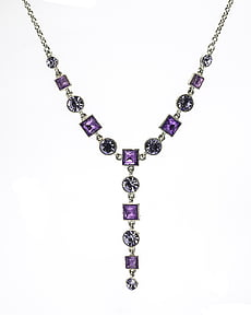 silver-colored clear and purple gemstone necklace