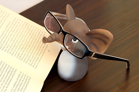 brown and white elephant plastic figure beside book