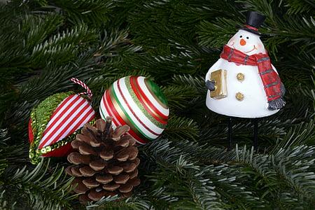 snowman bauble beside pine cone