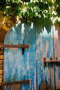 door, old, blue, wood, wooden, rustic