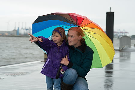 woman and girl holding umbrella while pointing her finger