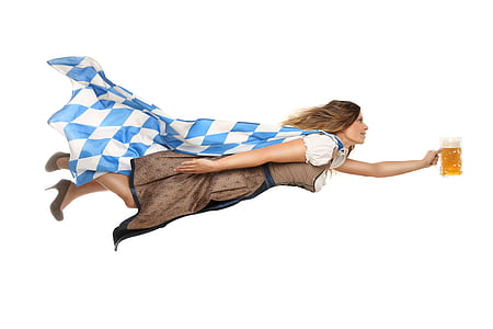 woman flying wearing blue-and-white cape holding tankard of beer
