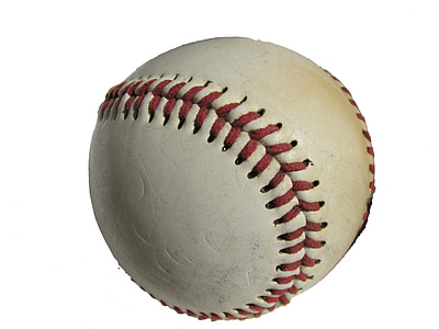 white and red baseball on white background