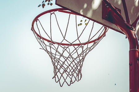 white and red basketball hoop photography