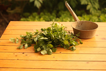 green leaves beside brown cooking pot on brown wooden table closeup photography