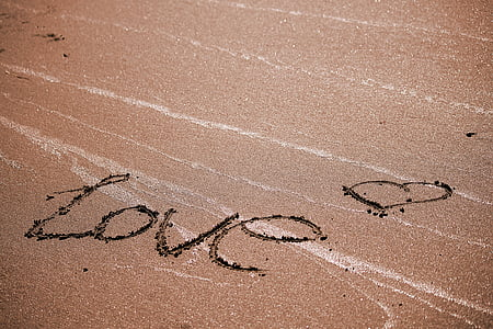 aerial photography of beach with love text
