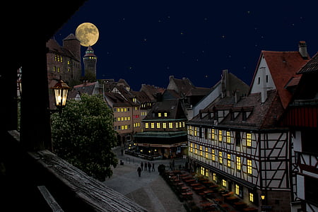 town houses and full moon