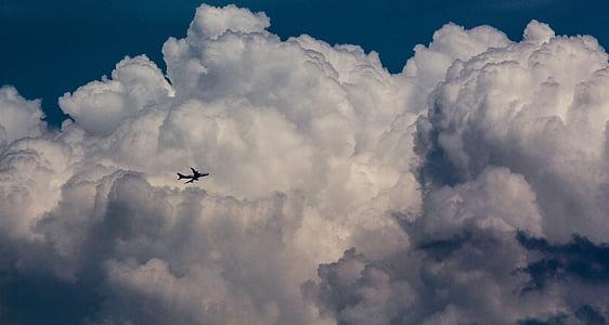 gray plane on cloud