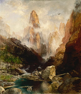 brown mountain painting
