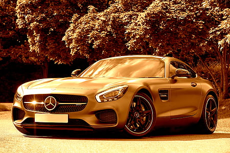 Mercedes-Benz sports car near tree sepia photography